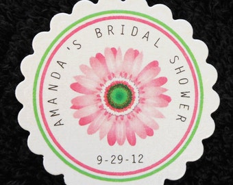 Personalized Bridal Shower Favor Tags, pink gerbera daisy, set of 50