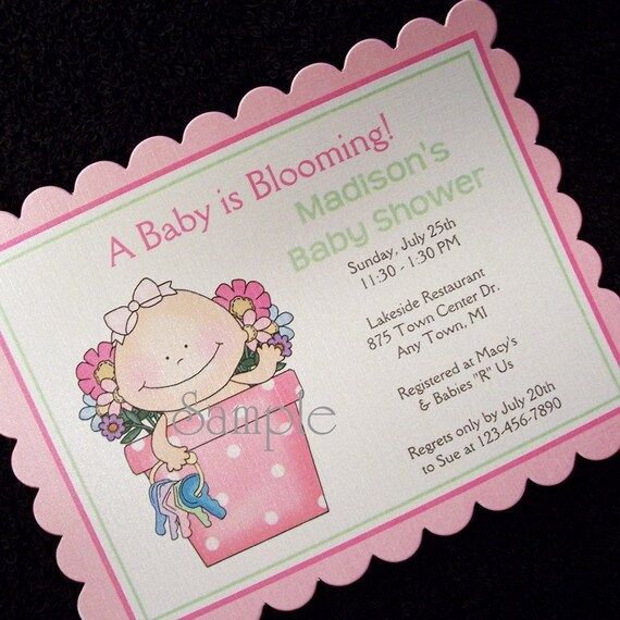 personalized baby shower invitations baby girl in flower pot set of