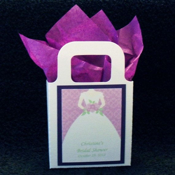 bridal shower party favor bags white bag with purple trim and