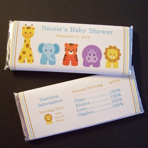 personalized baby shower candy bar wrappers zoo animals set of 60
