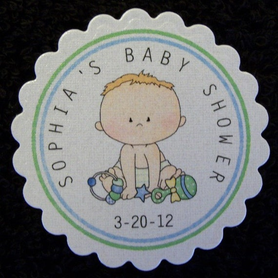 Baby Shower Favor Tags, Set of 25, baby boy blue trim