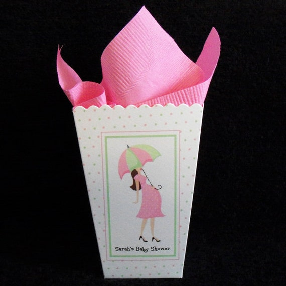 baby shower popcorn boxes pink mom to be pink and green dots set of