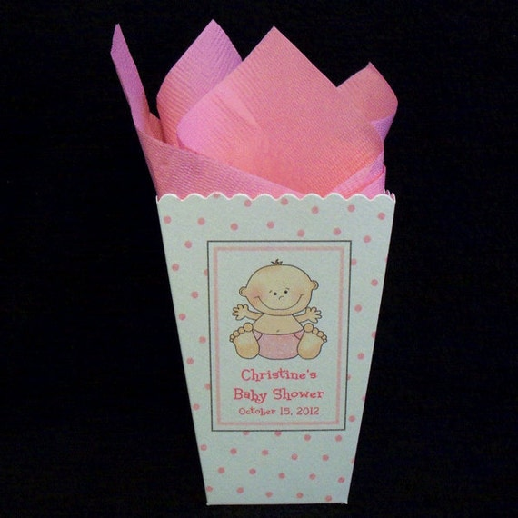 baby shower personalized popcorn boxes pink dots wth happy baby girl