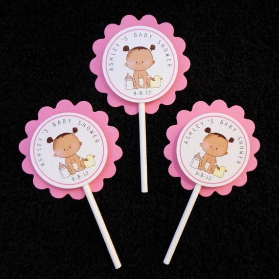 Personalized Baby Shower Cupcake Toppers, African American baby girl, set of 12