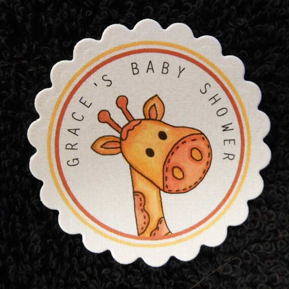 Personalized Baby Shower Favor Tags, Set of 25, giraffe