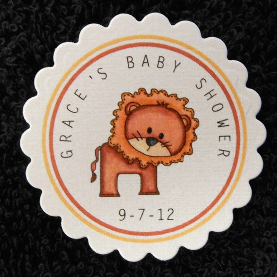 Personalized Baby Shower Favor Tags, Set of 25, lion