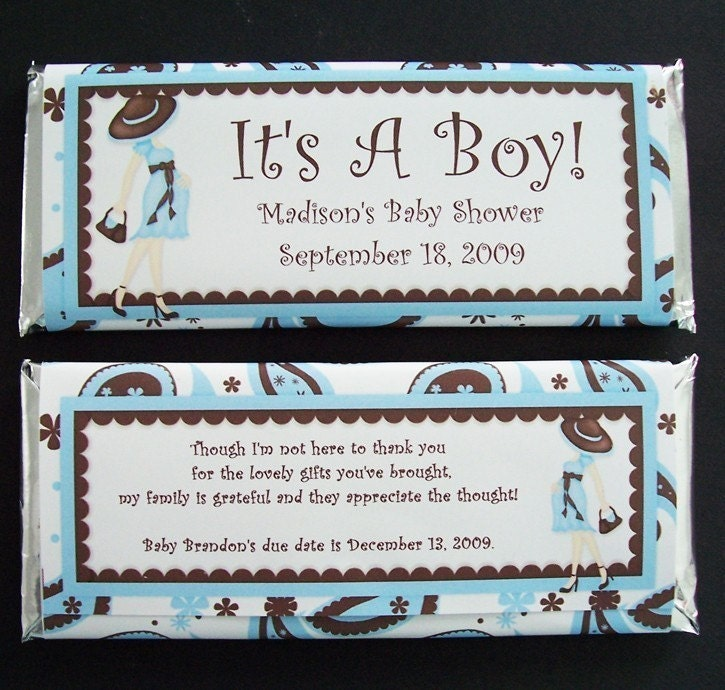 personalized candy bar wrappers baby shower favors set of 20