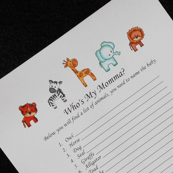 baby shower games name the baby animals jungle animal design