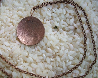 """Copper Necklace """" simple CENTiment """" hand hammered penny necklace in MAttE"""