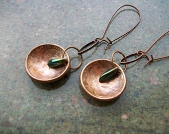 """Copper Earrings """"Drop in the Bucket"""" Hand Hammered and Polished"""