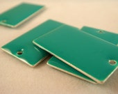 4 Teal Enamel Rectangle Epoxy Charm Bead Drop Double Sided 23x14mm - 4 pc - 1800