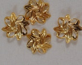 25 Gold Bead Cap Leaf Gold Plated 10mm - 25 pc - 1225-10