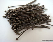 100 Black Ball Headpins Gunmetal Plated Brass 2.25 inch (57mm), 20-21 Gauge 1.5mm Ball - 100 pc - F4130BHP-B100