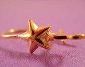 24 Gold Star Earwire Gold Plated Kidney, w/Loop - 12 Pr - 2506-4