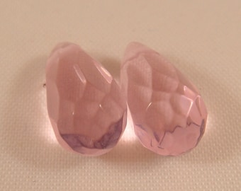 2 Teardrop Crystal Beads Pink Glass 13x7mm - 2 pc - 1510