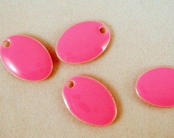 BOGO - 4 Pink Enamel Oval Epoxy Bead Charm Drop 14x9mm - 4 Pc - 1820 - Buy 1, Get 1 Free - No coupon required