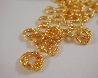 50 - 6mm Gold Fancy Jump Ring Twisted Gold Plated Jumprings Open 16 gauge Brass 6mm Outside - 50 pc - 3513