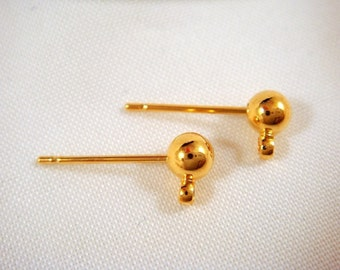 24 Ball Post Ear Stud 4mm Gold Plated Brass Stainless Steel Stud Earring Findings - 24 pc - 1408-1