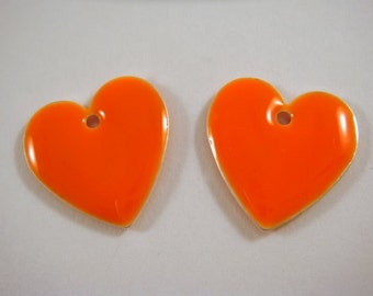 BOGO - 4 Bright Orange Enamel Heart Beads Drop Epoxy Double Sided 16mm - 4 pc - 3581 - Buy 1, Get 1 Free - No coupon required