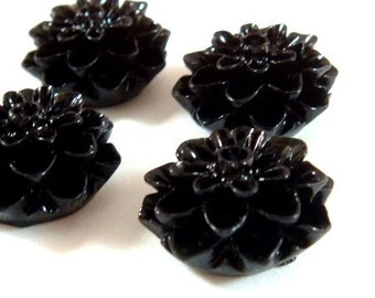 BOGO - 10 Black Flower Cabochon Beads Resin Dahlia 15mm - No Holes - 10 pc - CA2016-BK10 - Buy 1, Get 1 Free - No coupon required