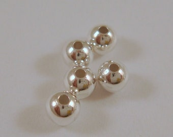 50 Silver Beads 4mm Spacer Brass Smooth Round - 50 pc - 3490-8