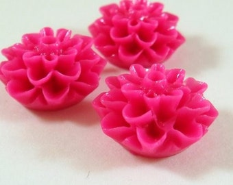 BOGO - 10 Fuchsia Cabochon Flower Resin Bead Dahlia 15mm - No Holes - 10 pc - CA2016-F10 - Buy 1, Get 1 Free - No coupon required