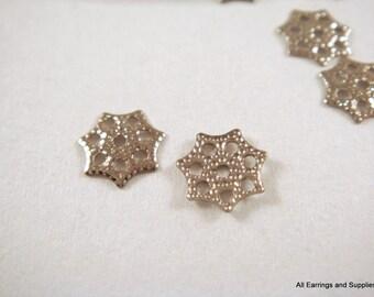 100 Platinum Plated Bead Caps Flower Iron 6mm - 100 pc - F4090BC-P100