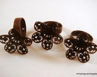3 Adjustable Copper Ring Blank Base 24mm Antique Flower - 3 pc - R8005-AC3