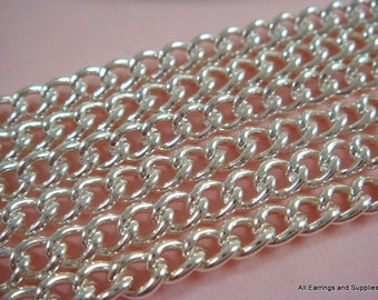 5ft Silver Chain Curb Link Steel 4x3.2mm Not Soldered - 5 feet - STR9001CH-S5-M