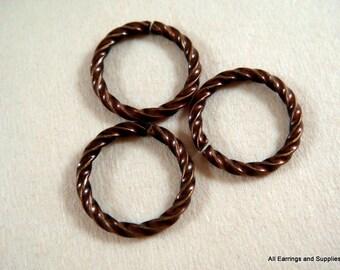 50 Jump Rings Antique Copper 10mm Twisted Fancy Brass 16 Gauge 10mm Outside - 50 pc - 5210