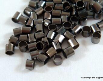 400 Black Crimp Beads Plated Brass 2mm Economy Grade Gunmetal - 4 grams - F4021CB-B400