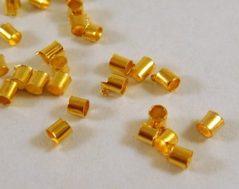 400 Gold Crimp Beads Plated Brass 2mm Economy Grade - 4 grams - F4021CB-G400