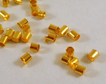 400 Gold Crimp Beads Plated Brass 2mm Economy Grade - 4 grams - F4021CB-G400 - Select Qty