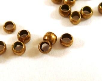 200 Bronze Crimp Beads Antique Barrel Bead Brass NF 2mm - 3 grams - F4022CB-AB200
