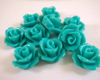 BOGO 10 Teal Flower Cabochon Beads Rose Resin Bead 10mm - No Holes - 10 pc - CA2006-T10 - Buy 1 pk, Get 1 Free - No coupon required
