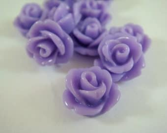 BOGO 10 Lavender Flower Cabochon Rose Resin Bead 10mm - No Holes - 10 pc - CA2006-L10 - Buy 1 pk, Get 1 Free