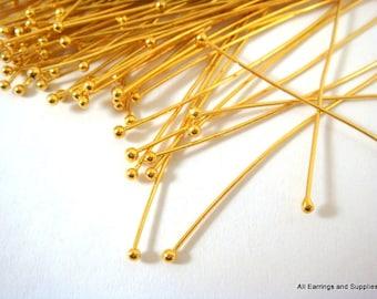 100 Ball Headpins 2 inch Gold Plated Brass 23-24 Gauge NF Ball Pin - 100 pc - F4028BHP-G2100