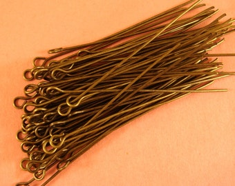 100 Eye Pins Antique Bronze 2 inch (50mm) 21 Gauge Plated Iron - 100 pc - F4002EP-AB2100
