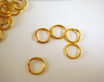 100 Gold Jump Rings 5mm Plated Iron 20 Gauge 5mm Outside - 100 pc - F4003JR-G5mm100 - Select Qty