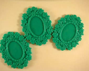 SALE - 3 Teal Cabochon Frame Resin Cameo Setting Victorian Style 50x39mm takes 25x18mm Cab - 3 pc - A1006CF-T3