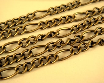 5ft Bronze Chain Mother Son Figaro Antique Bronze LF/NF Not Soldered - 5 ft - STR9008CH-AB5