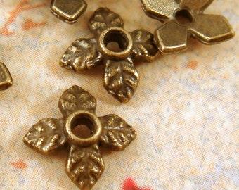 25 - 4 Leaf Bead Caps Antique Bronze Plated Flower 7.5mm - 25 pc - F4030BC-AB25