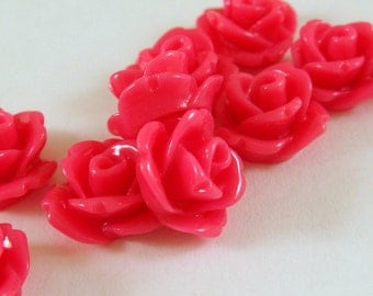 BOGO 10 Magenta Rose Flower Cabochon Beads Resin Bead 10mm - No Holes - 10 pc - CA2006-M10 - Buy 1, Get 1 Free - No coupon required