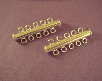 2 Silver Slide Lock Clasp 5 Strand Plated Brass 31x6mm - 2 pc - 5513-14