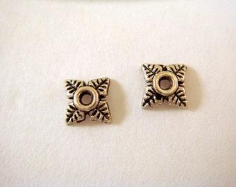 25 Antique Silver Bead Caps Tibetan Silver Flower 8mm 4 Petal - 25 pc - F4109BC-AS25