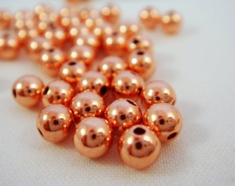 50 Copper Beads 4mm Smooth Round Bead - 50 pc - 3420-8