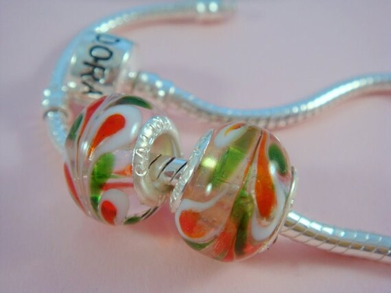 SALE - 2 pc Large Hole Lampwork Beads Clear Red Green White 12-14mm - 3907