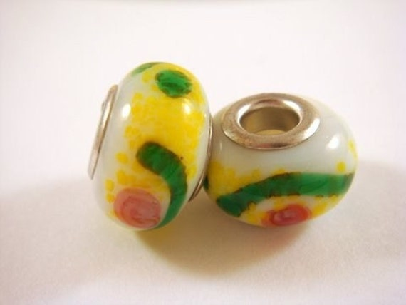 SALE - 2 White Lampwork Beads Large Hole Glass 14-15mm - 2 pc - 4217