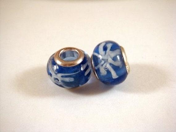 SALE - 2 Blue Glass Lampwork Large Hole Beads 12-14mm, 4-5mm Hole - 2 pc - 4534