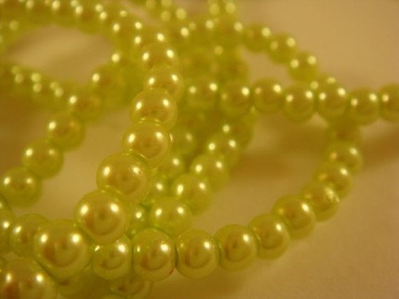 8mm Lime Pearls Glass Beads Lime Green - 30 inch - 1239